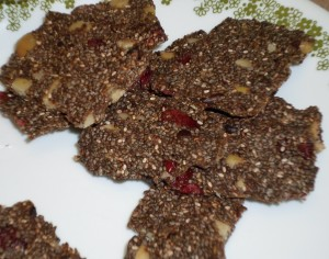 pili nuts, chia seeds, raw food crackers